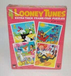 Vintage Unused Looney Tunes 4 Warner Bros.Frame Tray Puzzles by Whitman 1975 NIB