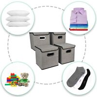 4 x Foldable Storage Box with Lid Collapsible Home Clothes Organizer Fabric Cube