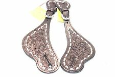 Tough-1 Ladies Size Dark Oil Leather Buck-stitched Floral Pattern Spur Straps