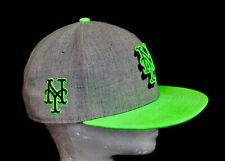 NWOT Rare! NEW ERA 59Fifty NY Mets Cap Gray & Neon Green Adjustable Snap Strap