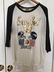 Super Bowl DENVER BRONCOS vs Carolina Panthers Jersey Top Short Sleeve Blue XL