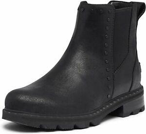 SOREL Lennox Waterproof Chelsea Stud Ankle BOOTS 10 Studded Black Leather NEW
