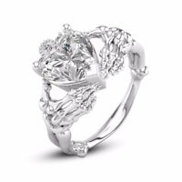 925 Silver White Topaz Woman Heart Jewelry Wedding Engagement Ring Size 6- 10
