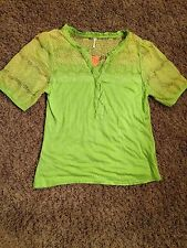 Lime Green Plus Size Lace Ruffle Top / Blouse