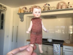 Antique vintage miniature bisque doll,frozen Charlotte boy toy dolls house doll.