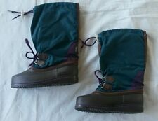 "Amazing RETRO vtg 80s-90s Sorel snow boots,HIGH 12.5"",USA, liners,womens 4 girls"