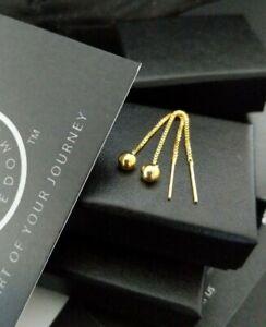 9ct Gold 925 Silver 4MM Ball Pull Through Box Chain Threader Earrings + Gift Box