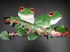 Metal  Wall Art - Green Tree Frogs on Branch Wall Hanging