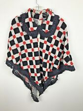 Vintage 1960s Knit Sweater Shawl Poncho Red Black White Fringe Squares S M