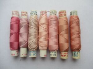 VINTAGE PURE SILK EMBROIDERY THREADS PERIVALE & GUTERMANN PINK SHADES