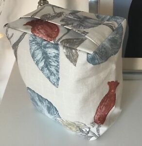 HANDMADE CONTEMPORARY FLORAL BLUE GREY PRINT FABRIC DOOR STOP - UNFILLED