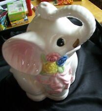 Vintage White/Pink Elephant Ceramic Cookie Jar; 2 Piece; Kitchen Collectible;12""