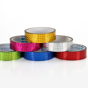 Holographic Prism Sticky Gift Wrap Tape -Washi  10 mm x 30 Meter  ( 6 Colours)