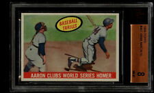 1959 TOPPS #467 HANK AARON CLUBS WORLD SERIES HOMER BVG 8 NM-MT MILWAUKEE BRAVES