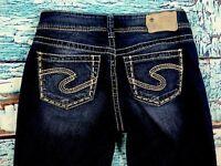 14L- Silver Jeans Suki Straight Leg Womens Denim Pants sz W27 L27 dark wash