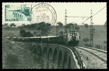 ALGERIE MK 1957 EISENBAHN TRAIN RAILROAD LOK BRIDGE MAXIMUM CARD MC CM h0363