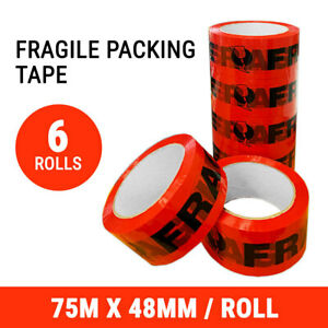 6 Rolls Fragile Tape Packing Packaging Sticky 48MM x 75M Adhesive Sealing