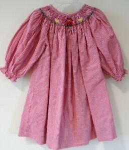Vive La Fete Smocked Farm Animals Bishop Dress Girl's Size 12M