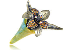 Flower Bouquet Pin Brooch Fashion Gift Alloy Crystal Elements Old Antique Topaz