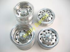A Set  1/14 R/C  2-Axle 4X2 Tractor Truck  ALLOY WHEELS  SILVER Rims  re Tamiya