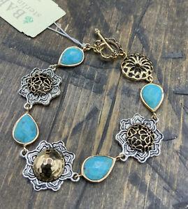 Barse Kimono Toggle Bracelet- Turquoise- Bronze & Sterling Silver- NWT