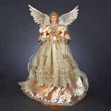 """16"""" Platinum ANGEL TREE TOPPER 10 clear mini lights New in Box  Electric"""