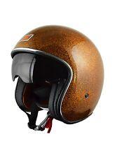 Casque Jet Rétro Vintage Orange metalflake Harley Cafe Racer Taille XS, S,M,L,XL