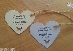 Heart Tags for Wedding Favours/Gifts - Cute Butterfly Cut Out - Personalised