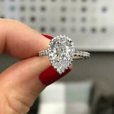 2.00Ct Pear Shape White Diamond Halo Engagement Ring in 14K White Gold Over