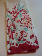 "New listing Vintage Linen Cotton Tea Towel ~ Kitchen ~ Red & Pink~ Floral ~ 14"" x 30"""