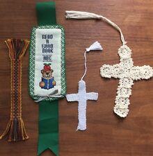 4 cross stitch bookmarks tassel crochet Crosses, ABC Reading Bear, Etc