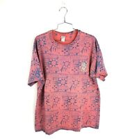 Vintage Ocean Pacific T Shirt 90s VTG USA All Over Print Pink Mens Sz Large