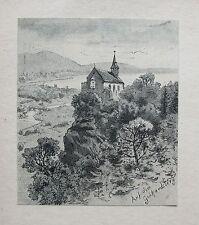 BREGENZ Wallfahrtskirche Gebhardsberg ÖSTERREICH. Originaler Holzstich 1880