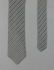 Eterna - Silver/White Striped Silk Tie - One Size - *NEW WITH TAGS* RRP £25