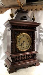 Rare Antique Lenzkirch German Bracket Clock With Ornate Detail- Haus Style