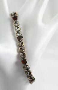 Sterling Silver & Faceted Heart Shaped Garnet Bracelet