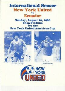 1980 New York United vs National Team of Ecuador international soccer program