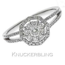 Diamond Halo Ring with Split Shank 0.55ct F VS Brilliant Cut in 18ct White Gold