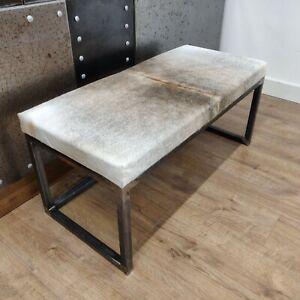 BESPOKE - Cowhide topped Steel bench / ottoman 100x45cm -  handmade in the U.K