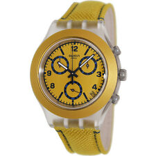 SWATCH MUSTARDY CHRONOGRAPH DATE MUSTARD DIAL LEATHER MEN'S WATCH SVCK4069 NEW