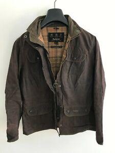 Womens Barbour Utility Jacket Coat size 10/12 S/M Brown Wax Cotton Slim Fit