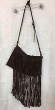 Michael Kors Purse Brown Fringe Suede Messenger  Stitched Strap Size Medium