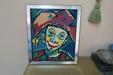 "Vintage Finished Needlepoint Clown Handmade 13"" x 16"" - 15"" x 18"" framed"