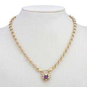 18K Yellow Gold GL Women's Solid Med Belcher Necklace & Amethyst Filigree Heart