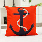 Home Decor Office Cotton Linen Red Black Anchor Cushion Cover LauR Pillow Sofa 4