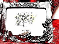 "PHOTO FRAME ""My Mother"" words on top Antiqued silver finish long stem rose"