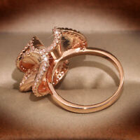 Exquisite Rose Gold Filled Ring 925 Silver White Sapphire Wedding Jewelry Sz6-10
