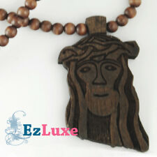 "LONGER CHAIN goodwood good maple wood black Jesus Piece Necklace 37"" face wooden"