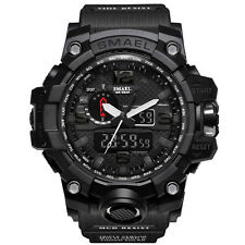 SMAEL Men's Sport Dual Display Analog Digital Alloy Rubber Band Wristwatch Black