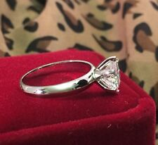 Solid 14K White Gold 2 Carat D VS1 Enhanced Diamond Engagement Ring Round Cut